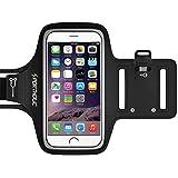 Sportholic® Brazalete Impermeable Para Deportes -GARANTÍA DE POR VIDA- Con soporte para llaves, cables y tarjetas para iPhone 6/6S,Galaxy S6/S5,iPhone 5/5C/5S hasta 5.1 pulgas (negro)