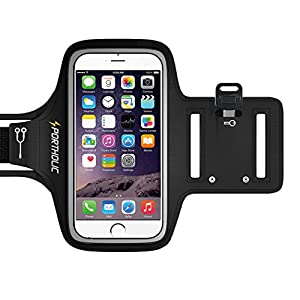 iPhone 6 armband / iPhone 7 armband - PORTHOLIC Water Resistant Sports Running Armband With Key Holder,Cable Locker,Cards Holder For iPhone 7/6 Galaxy A3/A5/J5/S6/S5 iPhone 5/5C/5S/SE Up to 5.1 Inches(Black)