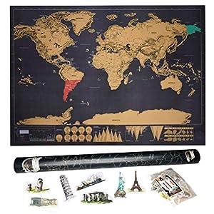 Mapa Mundi de Rascar (82,5×59,4cm),  Mapa Mundo Pared Grande,  Para  Rascar  Países que Has Visitado,  AgreenWay  Con Pegatinas