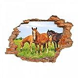 nikima - 056 Wandtattoo Pferde - Loch in der Wand Wiese Fohlen braun schwarz reiten Koppel - in 6 Größen - Kinderzimmer Sticker Wandaufkleber niedliche Wandsticker Wanddeko Wandbild Junge Mädchen Größe 1250 x 870 mm
