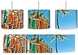 Surfboards am Strand inkl. Lampenfassung E27, Lampe mit Motivdruck, tolle Deckenlampe, Hängelampe, Pendelleuchte - Durchmesser 30cm - Dekoration mit Licht ideal für Wohnzimmer, Kinderzimmer, Schlafzimmer