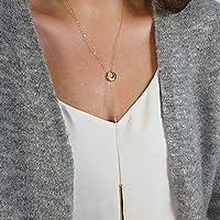 Cadena larga con colgante en forma de círculo para mujeres y niñas de Kercisbeauty. Color plata