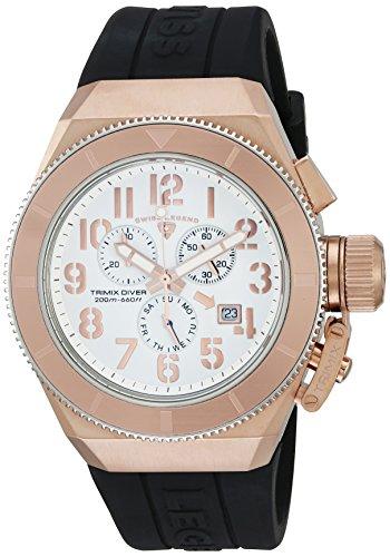 Swiss Legend uomo Trimix Diver Black silicone Band Steel case Swiss Quartz Watch 13844-rg-02-rba