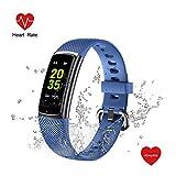 Abeyete Orologio Fitness Tracker Cardiofrequenzimetro Monitor e monitoraggio del Sonno Impermeabile IP68 Smartwatch Sportivo Bluetooth Activity Tracker per Uomo Donna iOS Android(Blu)