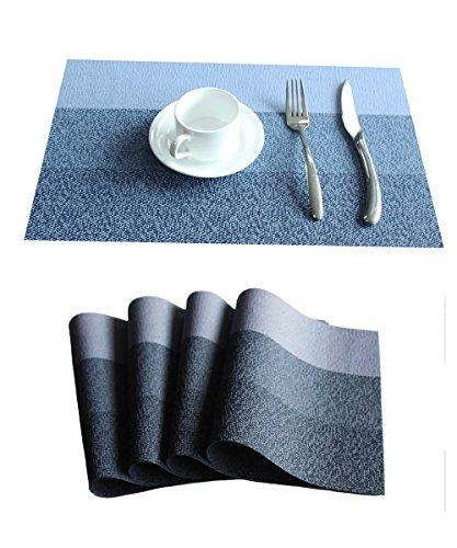 (FOOKREN Platzmatten Tischsets 4er Set Streifen mit Drei FarbenAbwaschbar Hitzebeständig Rutschfeste Tabellenplatzmatten für küche Speisetisch (4Farbe 30x45cm) (Blau))