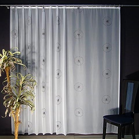 Hochwertige Fertiggardine - VOILE Store mit Motiv STICKEREI - Faltenband&Bleiband »MODENA« versch. Größen, 220 x 300 cm (HöhexBreite)
