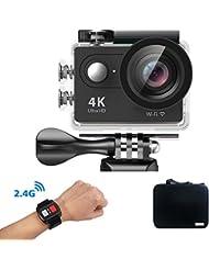 Mbylxk Action Kamera 4K, 2.0 Zoll Eingebautes WiFi Action Kamera wasserdicht 30M, 2.4G Remote Auto Recorder und kostenlose Accessoires (schwarz)