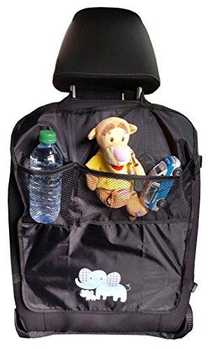 Preisvergleich Produktbild VeQuip - Sitzschutz Sitzschoner Rückenlehnentasche Kinder Auto-Rückenlehnenschutz mit zusätzlichem Gurt,  hochwertiger wasserabweisender Autositz-Schutz mit 2 Taschen,  1 Stück