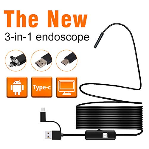 Oral Gebogene Rohre (DYWLQ USB Inspektionskamera,3 in 1 Endoskop wasserdicht HD Endoskop Kamera Schlange halbstarres Kabel für PC/Latop/Computer und OTG & UVC kompatibles Android,)