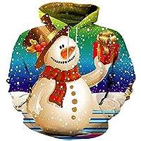 shan Men 's Christmas Snowman Hombres de Manga Larga Jersey Baseball 3D Wear Sudadera,5XL.