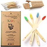 BAMBOOGALOO Kids Bamboo Toothbrushes - Organic & Eco-Friendly. Rainbow 4 Pack with Bamboo Cotton Buds Gift. Childrens Natural Wooden Toothbrush, Soft & Gentle BPA-Free Bristles. Plastic-Free Packaging