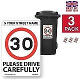 Custom dirección, A4para cubos de basura pegatinas de vinilo y 30mph velocidad aviso [3x Pack–A4200mm W x 300mm H, fondo blanco]