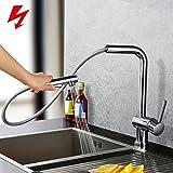 Homelody Chrom Niederdruckarmatur ausziehbar Küchenarmatur Wasserhahn küche Niederdruck Armatur Spültisch