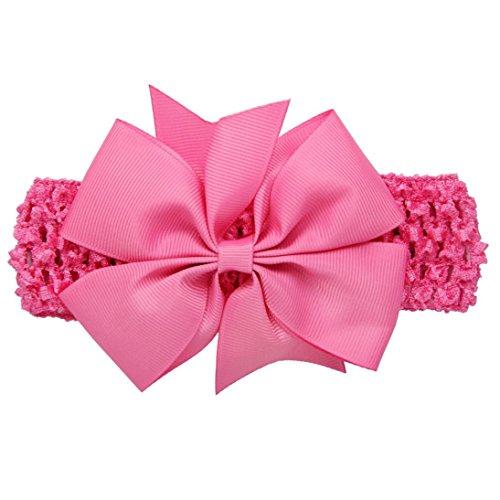 (erthome Baby Haarnadel, Kinder elastisches Blumen Stirnband Haar Mädchen Baby Bowknot Haarband Set 3Pcs (Spitzen-Schleife Pink))