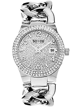 So & Co New York SOHO Quarz Damen Armbanduhr mit Silber Zifferblatt Analog-Anzeige und Silber Edelstahl Armband...