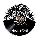 MUZIDP Wanduhr,Kreativ Retro Retro-Nostalgie Vinyl-Schallplatte Römische Zahlen Wanduhr Für Home Geschenk Dekorative Wand Uhr-bob Marley-A 12inch