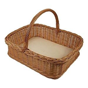 Weidentablett mit Henkel ca. 53x38x13 cm Eckig Braun Tablettkorb Korbtablett Serviertablett Handarbeit Holz Küche Garten Weide (Braun - Oval)