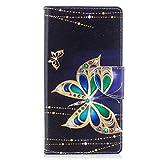 ISAKEN Sony Xperia XZ Premium Hülle, Folio PU Leder Flip Cover Brieftasche Geldbörse Wallet Case Ledertasche Handyhülle Tasche Schutzhülle Hülle für Sony Xperia XZ Premium - Gold Schmetterling