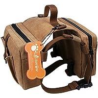 Lalawow Hunderucksack Harness Leinwand Sattel Tasche Für Draussen Reisen Training Camping Wandern (Braun)