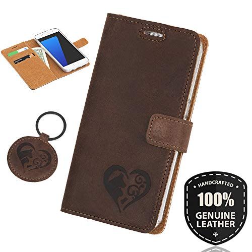 SURAZO Animals - Premium Vintage Ledertasche Schutzhülle Wallet Case aus Echtesleder Nubukleder Farbe Nussbraun für Lenovo/Motorola Moto G5 Plus (5,20 Zoll)
