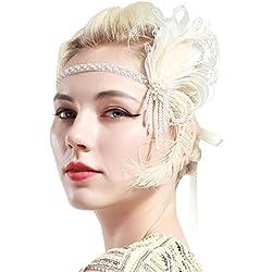 ArtiDeco 1920 Diadema de Pluma de Pavo Real Cinta para el Pelo con Cuentas Vintage Años 20 Flapper Pelo Banda de Pluma con Perlas Disfraz Gatsby Accesorio