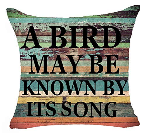 Jxrodekz Retro Vintage Color Wood Grain Background Sweet Inspirational Sayings A Bird May Be Known by Its Song Cotton Linen Decorative Home Office Dekokissenbezug Cushion Cover Square 18 X 18 Inches