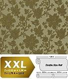 3D Floral Tapete Blumen Vliestapete EDEM 979-38 Hochwertige Luxus Struktur Blumen-Dekor olivgrün khaki bronze 10,65 qm