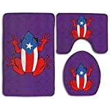 Bath Mat, 3 Piece Bathroom Rug Set Puerto Rico Flag Coqui Purple Nonslip Flannel Shower Mat Mildew Proof U-Shaped Toilet Cover Rugs for Men Women Kids, Bathroom Rugs, Bathroom Accessories