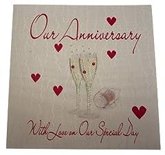 Idea Regalo - Bianco Carte cotone fatta a mano Champagne Occhiali nostro Auguri di buon anniversario, Bianco