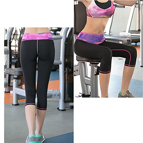 Zhhlinyuan Women's High Waist Fitness Des sports Yoga Pants Stretch Cropped Trousers Multicolore