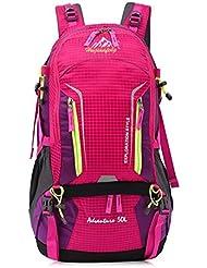 50L mochila de senderismo bolsa de hombro del recorrido al aire libre de gran capacidad transpirable y resistente al agua , rose red