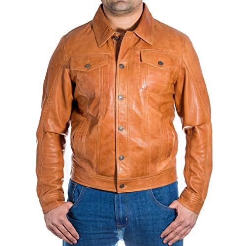 Denim-Style Western Truckerjacke aus echtem Leder. Erhältlich in Leder oder Wildleder