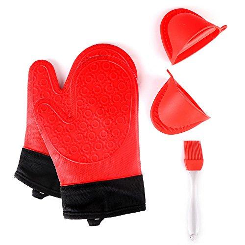 Jonhen Hitzebeständige Silikon Ofenhandschuhe Anti-Rutsch mit Baumwoll-Fütterung zum Backen in der Küche - Ofenhandschuhe 1 Paar,Gratis Bürste & Topflappen (Rot) -