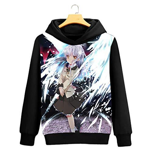 Cosstars Angel Beats Anime Kapuzenpullover Sweatshirt Cosplay Kostüm Hoodie Mantel Pulli Sweater Schwarz 4 M