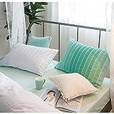 Lauson House 100% cotone filato tinto seersucker Set di biancheria da letto, verde, (Kissenbezüge) 2x80x80cm