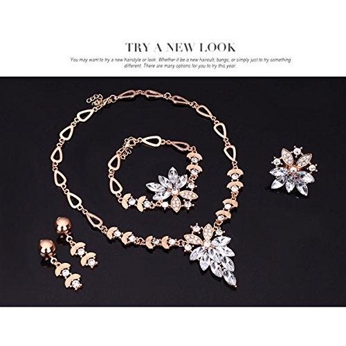 PIXNOR Halskette Armband Ring Ohrringe Schmuck Set