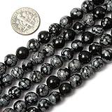 Schöne, 8 mm, rund, Schneeflocken-Obsidian Kugeln in 15 cm Strang Perlen/Herstellen von Schmuck