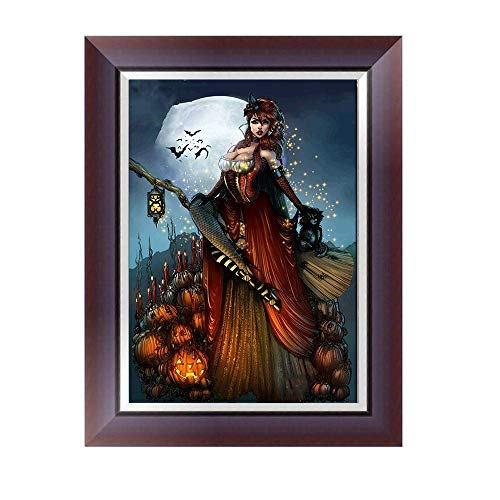 FORH DIY 5D Diamond Painting Set Diamant Malerei Kreuzstich Halloween Decor Geschenk Kreuzstichmotive Full Kits Handwerk Wie Stickerei Kreuzstich Haus Dekorationen 40 * 30cm (Hexe)