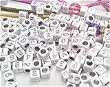 MichaLeo Zahlen Perlen Würfel 6x6mm Silber 240 Stück Gemischt 0-9 und # Armband Selber Machen Paracord Schnur Geschenk Charms Beads