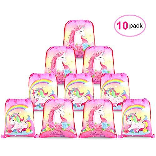 Konsait Lot 10 Unicornio Bolsa de Cuerdas Sackpack Poliéster Bolsa de Hombro Casual Mochilas Escolar Infantil Niños Niñas,Bolsas de Cumpleaños Regalo, Favores de Fiesta Unicornio