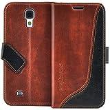 elephones Handyhülle für Samsung Galaxy S4 Hülle Schutzhülle Handytasche Case Cover Braun mit Stand Kartenfächer Geldscheinfach