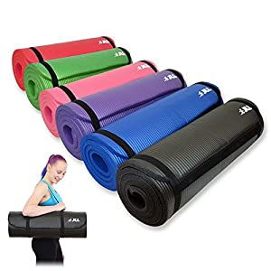 JLL Yoga Mat Extra Thick 15mm Non-Slip Pilates Workout (Black)