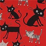Roter Katzen Tier Oxford Stoff CocoLand aus Japan