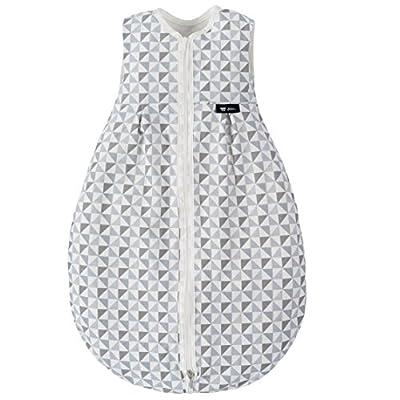 Alvi Baby Mäxchen Light - Saco de dormir ligero para verano, sin mangas, forma de pera, sin forro, Certificado Oeko-Tex, 100% algodón - Triángulos gris/plata