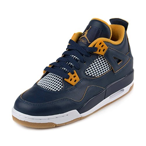 Nike Air Jordan 4 Retro BG, Scarpe da Fitness Bambino, Blu/Arancione/Bianco (Mid Nvy/Mtlc STR-Gld LF-wh), 39 EU