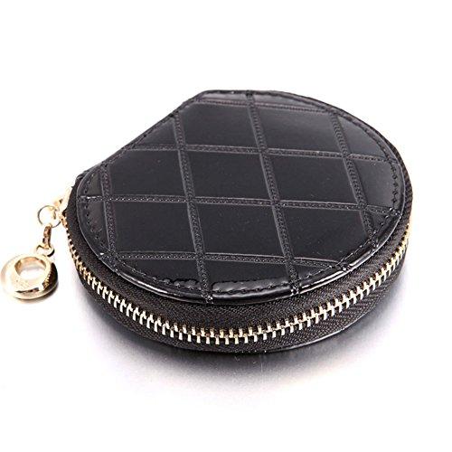 Lady diamond Plaid carino poco borsa/ borsa della moneta coreana zip/ borsa di ragazze-Rosso Nero