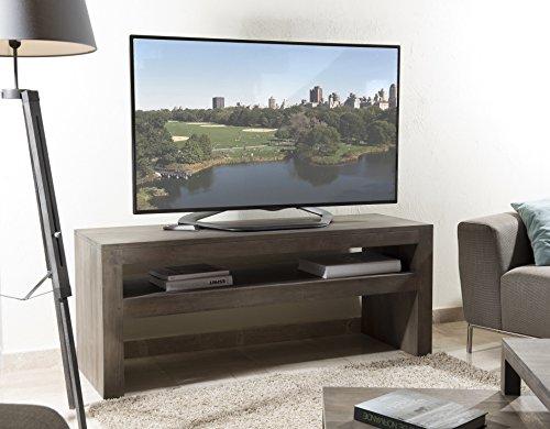 Macabane Meuble TV 1 étagère, Bois, Gris Tabac, 150 x 50 x 60 cm