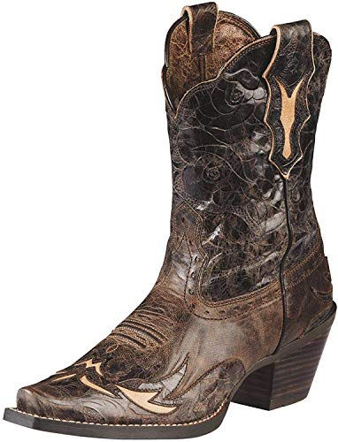 Ariat Women's Dahlia Western Cowboy Boot, Silly Brown/Chocolate Floral, 6.5 M US -