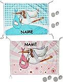 Unbekannt XL Dekofahne -  Storch - Baby rosa / zur Geburt  - incl. Name - z.B. für Fenster / Tür - Aussen & Innen - Türschild - Fensterfahne / Fahne - Mädchen - wasse..