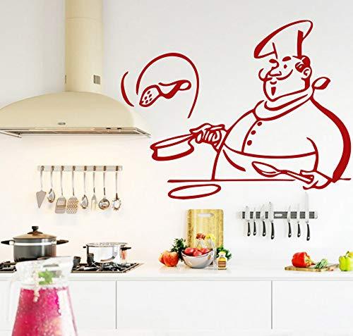 Küche Kochen Chef Entfernbare Wandaufkleber für Kinder Wohnzimmer Windows Glas Decor Home Kabinett Fliesen Geschnitzte Aufkleber Mele Shop -